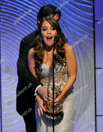 "Kristen Alderson accepts the award for outstanding younger actress in a drama series for ""General Hospital"" at the 40th Annual Daytime Emmy Awards, in Beverly Hills, Calif"