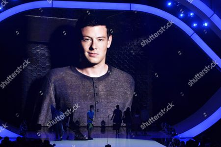 An image of the late Cory Monteith is pictured on screen at the Teen Choice Awards as a tribute at the Gibson Amphitheater, in Los Angeles