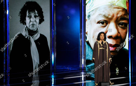 Phylicia Rashad speaks on stage at the BET Awards at the Nokia Theatre, in Los Angeles. Pictured on screen from left are Ruby Dee and Maya Angelou