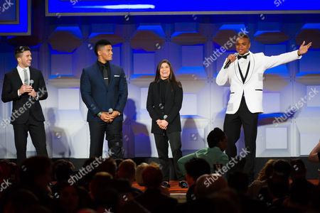 Stock Photo of Blake Skjellerup, left, Darren Young, Jessica Aguilar and Derrick Gordon appear on stage at the GLAAD Media Awards on in New York
