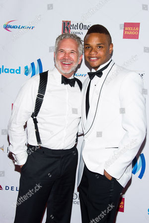 Stock Picture of Gerald McCullouch, left, and Derrick Gordon attend the GLAAD Media Awards on in New York