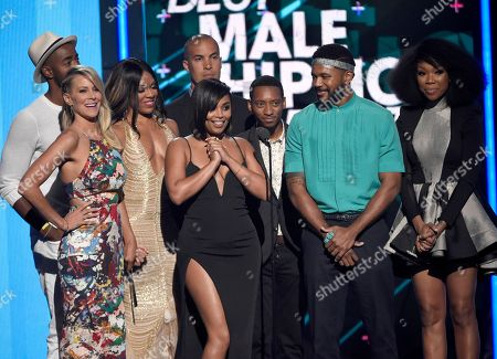 Jay Ellis, from left, Brittany Daniel, Wendy Raquel Robinson, Coby Bell, Lauren London, Barry Floyd, Hosea Chanchez, and Brandy Norwood present the award for best male hip hop artist at the BET Awards at the Microsoft Theater, in Los Angeles