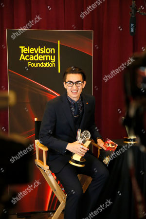 """Christopher Campbell of Art Center College of Design winner of the first place award for Commercial """"Maglite â?"""" Dreamweaver"""" participates in an interview at the 36th College Television Awards, presented by the Television Academy Foundation at the Skirball Cultural Center in Los Angeles on"""