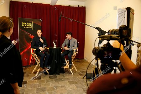 """Christopher Campbell of Art Center College of Design winner of the first place award for Commercial """"Maglite â?"""" Dreamweaver"""" participates in an interview with Edward Bean at the 36th College Television Awards, presented by the Television Academy Foundation at the Skirball Cultural Center in Los Angeles on"""