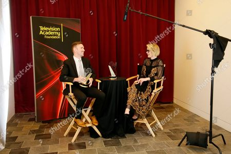 """Henry Hughes, left, of American Film Institute winner of the Directing Award for """"Day One"""" participates in an interview with Anna Paulson at the 36th College Television Awards, presented by the Television Academy Foundation at the Skirball Cultural Center in Los Angeles on"""