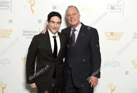 Robin Lord Taylor, left, and President of Fred Rogers Company Bill Isler pose for a portrait at the 36th College Television Awards, presented by the Television Academy Foundation at the Skirball Cultural Center in Los Angeles on