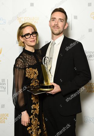 """Henry Hughes, right, of American Film Institute poses for a portrait with the Directing Award for """"Day One"""" with Anna Paulson at the 36th College Television Awards, presented by the Television Academy Foundation at the Skirball Cultural Center in Los Angeles on"""