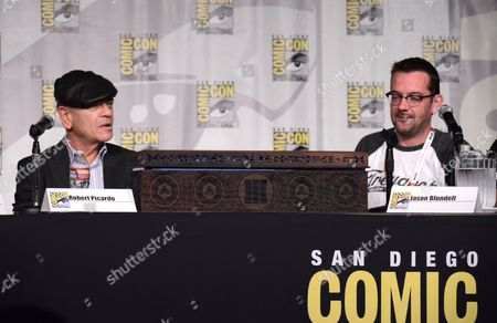 "Robert Picardo, left, and Jason Blundell attend the ""Call of Duty Black Ops III: Zombie World"" panel on day 1 of Comic-Con International, in San Diego, Calif"