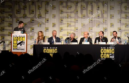 "Tom Cassell, from left, Heather Graham, Neal McDonough, Ron Perlman, Robert Picardo, producer Jason Blundell, Craig Houston attend the ""Call of Duty Black Ops III: Zombie World"" panel on day 1 of Comic-Con International, in San Diego, Calif"
