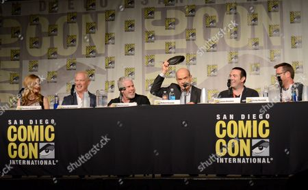 "Heather Graham, from left, Neal McDonough, Ron Perlman, Robert Picardo, producer Jason Blundell, and Craig Houston attend the ""Call of Duty Black Ops III: Zombie World"" panel on day 1 of Comic-Con International, in San Diego, Calif"