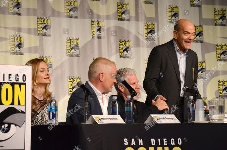 "Heather Graham, from left, Neal McDonough, Ron Perlman, and Robert Picardo attend the ""Call of Duty Black Ops III: Zombie World"" panel on day 1 of Comic-Con International, in San Diego, Calif"