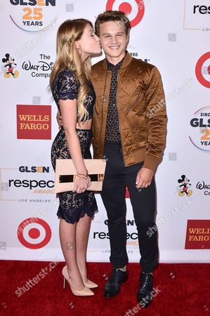 Brooke Sorenson and Gavin MacIntosh arrive at the 2015 GLSEN Respect Awards on in Los Angeles