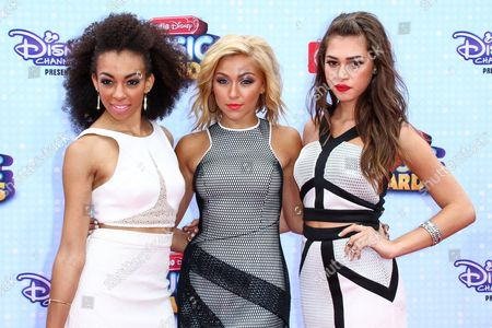 Summer Reign, from left to right, Millie Thrasher and Celine Polenghi of Sweet Suspense arrive at the 2015 Radio Disney Music Awards at Nokia Theatre L.A. Live on Saturday, April, 25, 2015 in Los Angeles