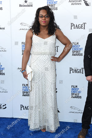 Mya Taylor arrives at the Film Independent Spirit Awards, in Santa Monica, Calif