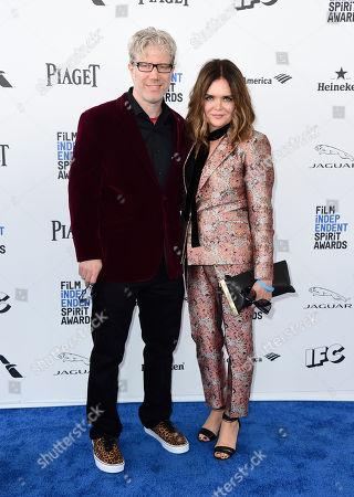 Eddie Schmidt, left, and Rachel Kamerman arrive at the Film Independent Spirit Awards, in Santa Monica, Calif