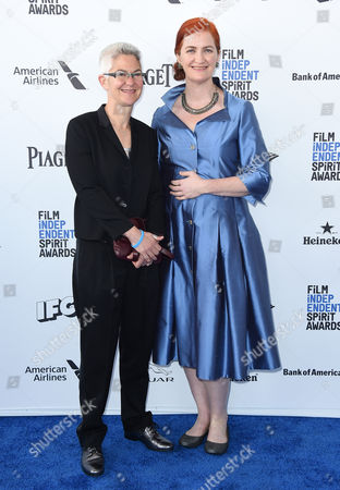 Emma Donoghue, right, and Christine Roulston arrive at the Film Independent Spirit Awards, in Santa Monica, Calif