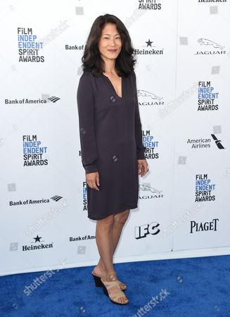 Jacqueline Kim arrives at the Film Independent Spirit Awards, in Santa Monica, Calif