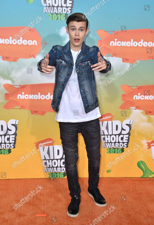 Benjamin Lasnier arrives at the Kids' Choice Awards at The Forum, in Inglewood, Calif