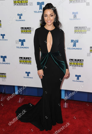 Sharlene Taule poses backstage at the Latin American Music Awards at the Dolby Theatre, in Los Angeles