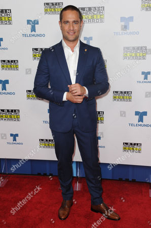 Michel Brown poses backstage at the Latin American Music Awards at the Dolby Theatre, in Los Angeles