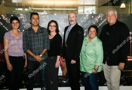 From left to right, editors Moira Demos, Kabir Akhtar, ACE, Nena Erb, Robert Malachowski, ACE, Kelley Dixon, ACE and Stephen Prime pose during the 2016 Prime Cuts hosted by the Television Academy in the Wolf Theater on in the NoHo Arts District in Los Angeles