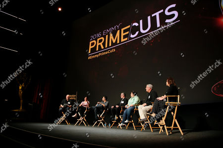 From left to right, Moderator Shawn Ryan, Moira Demos, Kabir Akhtar, ACE, Robert Malachowski, ACE, Kelley Dixon, ACE, Stephen Prime and Nena Erb participate during the 2016 Prime Cuts hosted by the Television Academy in the Wolf Theater on in the NoHo Arts District in Los Angeles
