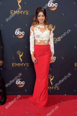 Angelique Rivera arrives at the 68th Primetime Emmy Awards, at the Microsoft Theater in Los Angeles