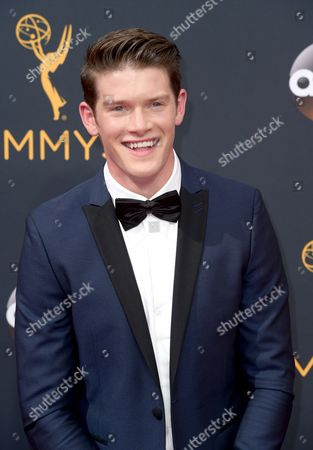 Alex MacNicoll arrives at the 68th Primetime Emmy Awards, at the Microsoft Theater in Los Angeles