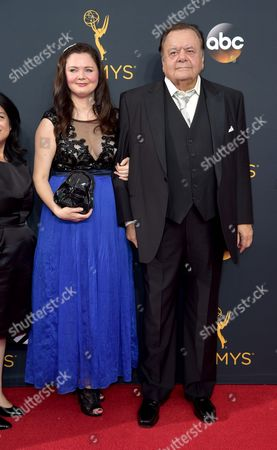 Dee Dee Benkie, left, and Paul Sorvino arrive at the 68th Primetime Emmy Awards, at the Microsoft Theater in Los Angeles