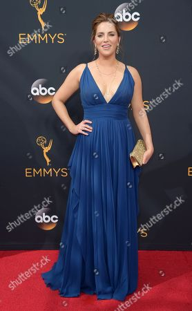 Sara Chase arrives at the 68th Primetime Emmy Awards, at the Microsoft Theater in Los Angeles