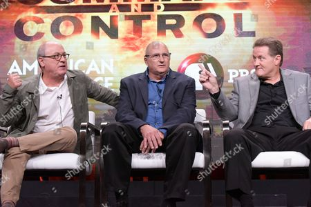 """Stock Photo of Robert Kenner, from left, David Powell and Greg Devlin participate in the """"Command and Control"""" panel during the PBS Television Critics Association summer press tour, in Beverly Hills, Calif"""