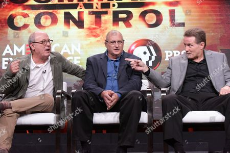 """Stock Picture of Robert Kenner, from left, David Powell and Greg Devlin participate in the """"Command and Control"""" panel during the PBS Television Critics Association summer press tour, in Beverly Hills, Calif"""
