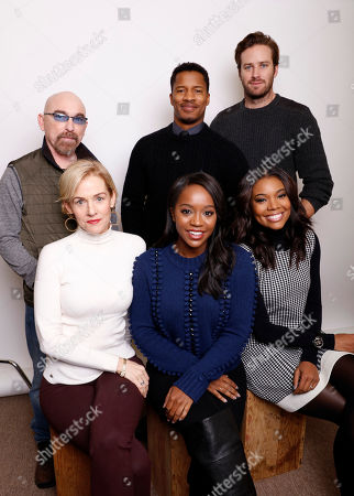 "From top left, actors Jackie Earle Haley, actor, director and producer, Nate Parker, Armie Hammer, Penelope Ann Miller, Aja Naomi King, and Gabrielle Union pose for a portrait to promote the film, ""The Birth of a Nation"", at the Toyota Mirai Music Lodge during the Sundance Film Festival on in Park City, Utah"