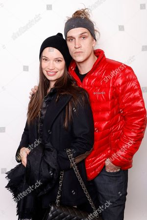"""Producer Jordan Monsanto, left, and actor Jason Mewes pose for a portrait to promote the film, """"Yoga Hosers"""", at the Toyota Mirai Music Lodge during the Sundance Film Festival on in Park City, Utah"""