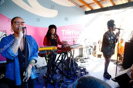 Stock Image of Anita Bias, Paris Strother, and Amber Strother (L-R) of King performs at the Spotify House at South by Southwest Music Festival, in Austin, TX