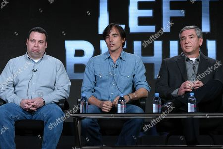 """Randy Ramaglia, from left, Keni Thomas and Mike Durant participate in the """"No Man Left Behind"""" panel at the National Geographic Channel 2016 Winter TCA, in Pasadena, Calif"""