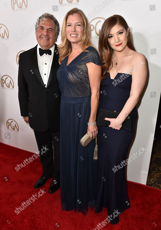 Stock Photo of Jim Gianopulos, from left, Ann Gianopulos, and Mimi Gianopulos arrive at the 27th annual Producers Guild Awards at the Hyatt Regency Century Plaza, in Los Angeles