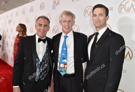 Steve Martino, from left, Craig Schulz, and Michael J. Travers arrive at the 27th annual Producers Guild Awards at the Hyatt Regency Century Plaza, in Los Angeles