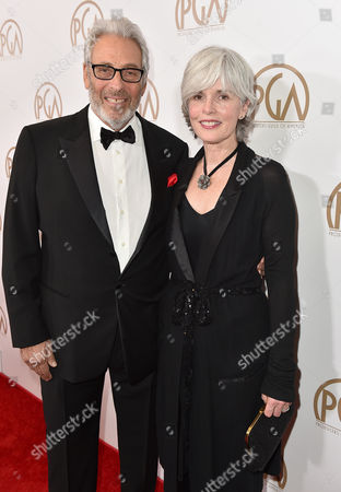 Hawk Koch, left, and Molly Koch arrive at the 27th annual Producers Guild Awards at the Hyatt Regency Century Plaza, in Los Angeles