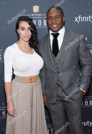 Reggie Bush and fiancee Lilit Avagyan arrive at the 3rd annual NFL Honors at Radio City Music Hall, in New York