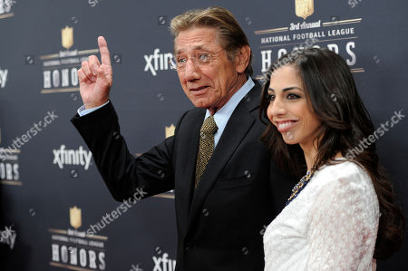 Stock Photo of Former NFL player Joe Namath, left, and his daughter Jessica Namath arrive at the 3rd annual NFL Honors at Radio City Music Hall, in New York