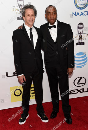 Brian Grazer, left, and Cornell William Brooks arrive at the 47th NAACP Image Awards at the Pasadena Civic Auditorium, in Pasadena, Calif