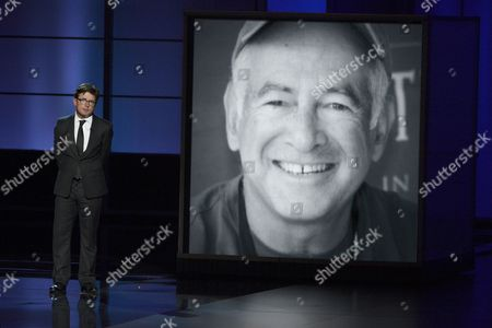 Stock Picture of Michael J. Fox presents a tribute to Gary David Goldberg at the 65th Primetime Emmy Awards at Nokia Theatre, in Los Angeles