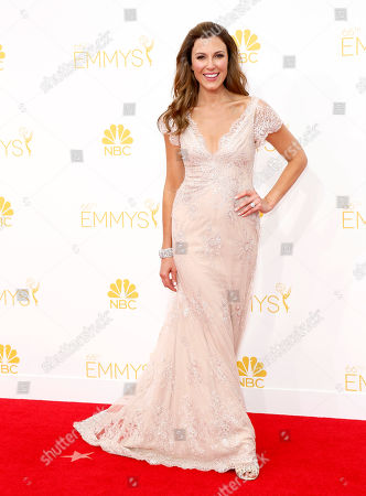 Thea Andrews arrives at the 66th Primetime Emmy Awards at the Nokia Theatre L.A. Live, in Los Angeles