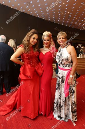 Elizabeth Espinosa, from left, Kimberly Cornell and Izzy Hirson at the L.A. Area Emmy Awards presented at the Television Academy's new Saban Media Center, in the NoHo Arts District in Los Angeles