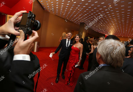 Mark L. Walberg, left, and Brenda Brkusicat the L.A. Area Emmy Awards presented at the Television Academy's new Saban Media Center, in the NoHo Arts District in Los Angeles
