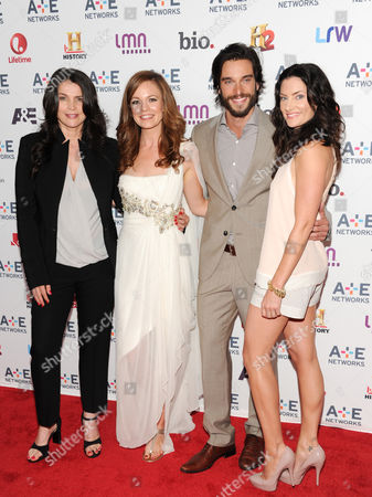 """Witches of East End"""" cast members, from left, Julia Ormond, Rachel Boston, Daniel Ditomasso and Madchen Amick attend the A+E Networks 2013 Upfront on in New York"""