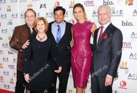 "Producer Marc Cherry, left, President and CEO of A&E Television Networks Abbe Raven, ""Supermarket Superstar"" host Stacy Keibler, Lifetime Networks executive vice president of programming Rob Sharenow, and ""Project Runway"" host Tim Gunn, right, attend the A+E Networks 2013 Upfront on in New York"