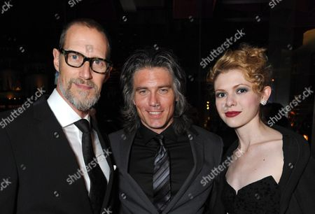 From left, Christopher Heyerdahl, Anson Mount and Kasha Kropinski attend the AMC, IFC, Sundance Channel Emmy After Party, on in West Hollywood, Calif