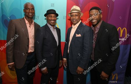 Charles Parnell left, Joe Morton, Ruben Santiago-Hudson and Jocko Simsare seen in the green room presented by McDonald's during the American Black Film Festival at Hilton Hotel, in New York